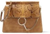 Chloé Faye Medium Python, Suede And Leather Shoulder Bag - Light brown