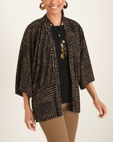 Travelers Collection Printed Mesh Dolman-Sleeve Cardigan