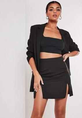 Missguided Tall Black Co Ord Double Split Mini Skirt