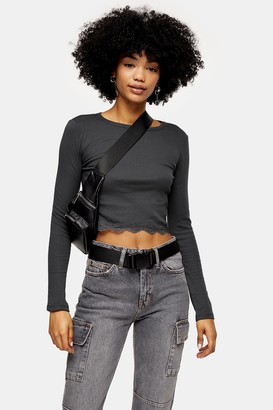 Topshop Womens Charcoal Grey Long Sleeve Lace Trim Top - Charcoal