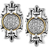 Effy Balissima by Diamond Bordered Earrings (1/6 ct. t.w.) in Sterling Silver and 18k Gold