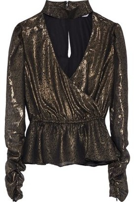 Walter Baker Faulk Wrap-effect Cutout Metallic Printed Chiffon Top