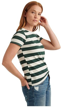 Lucky Brand Short Sleeve Crew Neck Stripe Tee (Oatmeal/Green Stripe) Women's Clothing