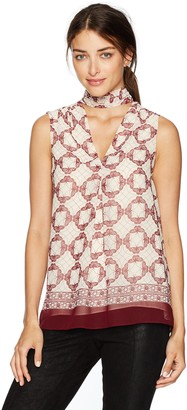 Max Studio Women's Choker Sleeveless Printed Blouse with Open Hem
