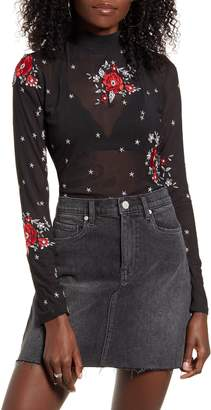 MinkPink Empower Embroidered Mesh Long Sleeve Top