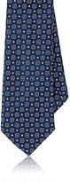 Barneys New York Men's Silk Medallion Jacquard Necktie-NAVY