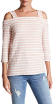 KUT from the Kloth Fridi Texture Stripe Cold Shoulder Tee
