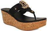 Fashion Focus Black Bee Embellished-Strap Wedge Sandal