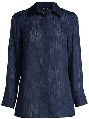 Misook Luster Accent Sheer Blouse
