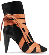 Isabel Marant Nola Suede And Leather Ankle Boots - Black