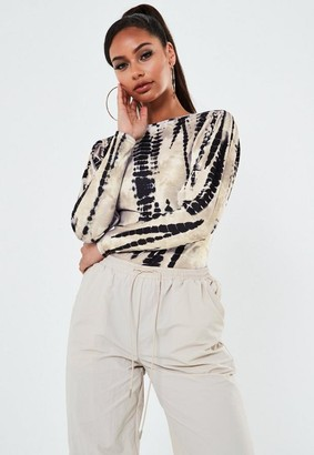 Missguided Sand Tie Dye Crew Neck Long Sleeve Top