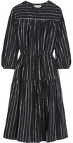 Etoile Isabel Marant Savory Metallic-trimmed Cotton-gauze Dress - Black