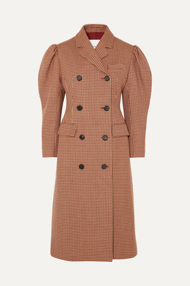 pushBUTTON Houndstooth Wool-blend Double-breasted Coat