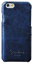 iPhone 6S case, Lookatool® for iPhone 6S 4.7 Inch Leather Hard Back Card Slot Case Cover Shell Skin (Blue)