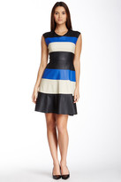 Muse M2507M Sleeveless Faux Leather Stripe Dress