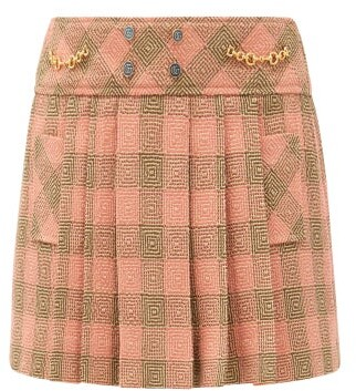 Gucci Horsebit-chain Check Pleated Wool Mini Skirt - Pink