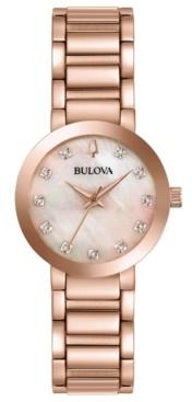 Bulova Women's Futuro Diamond-Accent Rose Gold-Tone Stainless Steel Bracelet Watch 30mm
