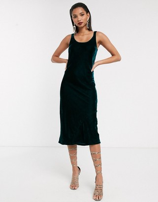 ASOS DESIGN velvet scoop neck midi slip dress