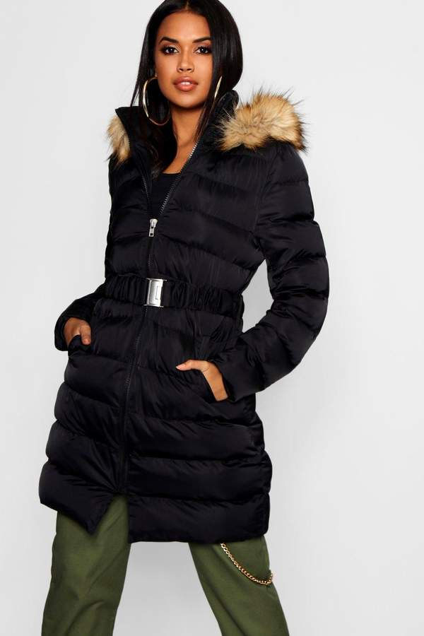 Belted Matte Satin Faux Fur Trim Puffer Jacket