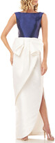 Kay Unger New York Hailey Colorblock Sleeveless Dress with Side Slit & 3D Bow