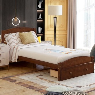 Hommoo Solid Wood Platform Bed with Storage Drawer / Headboard / No Box Spring Needed / Wood Slat Support, Twin