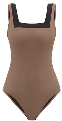 Casa Raki - Marina Square-neck Bi-colour Swimsuit - Beige Multi