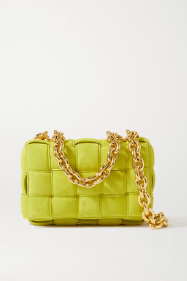 Bottega Veneta Cassette Chain-embellished Padded Intrecciato Suede Shoulder Bag - Green