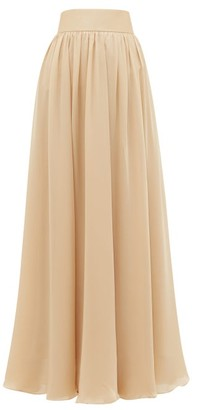 Zimmermann Super Eight Silk-charmeuse Maxi Skirt - Beige