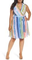 ECI Plus Size Women's Stripe Faux Wrap Dress
