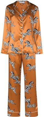 Olivia von Halle Zebra-print silk pyjamas