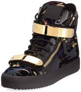 Giuseppe Zanotti Men's Floral Brocade Velvet Double-Bar High-Top Sneaker