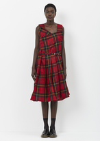 Comme des Garcons red black tarten pleat dress