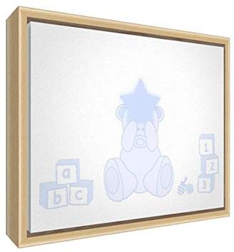 Camilla And Marc Feel Good Art Eco-Printed and Framed Nursery Canvas with Solid Natural Wooden Frame (44 x 34 x 3 cm, Medium, Soft Blue, Bear Heart)