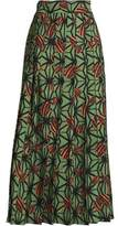Stella Jean Pleated Printed Crepe Midi Skirt