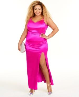City Studios Trendy Plus Size Lace-Back Dress