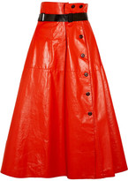 Bottega Veneta Belted Glossed-leather Midi Skirt - Tomato red