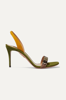 Aquazzura So Nude 85 Color-block Suede And Snake-effect Leather Slingback Sandals - Snake print