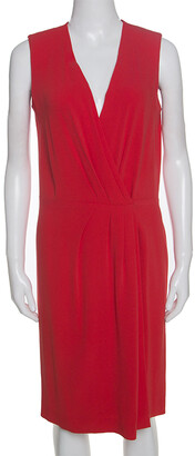 Joseph Red Crepe Pleat Detail Stellina Wrap Dress M