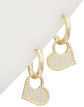 Alanna Bess Limited Collection 14K Over Silver Cz Heart Earrings