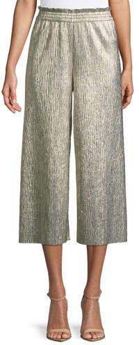 Alice + Olivia Elba Metallic Plisse Pull-On Cropped Wide-Leg Pants