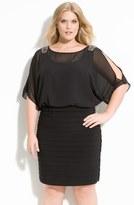 Xscape Evenings Beaded Cold Shoulder Dress (Plus Size)
