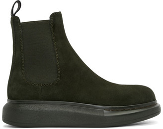 Alexander McQueen Green Suede Chelsea Boots