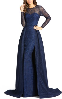 Mac Duggal Long Sleeve Lace Column Gown with Overskirt
