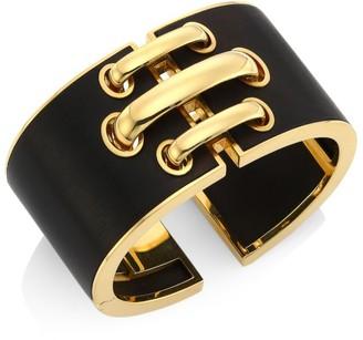 David Webb Woodworks 18K Yellow Gold & Ebony Wood Shoelace Cuff Bracelet
