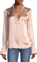 Paige Toscani Button-Front Satin Blouse
