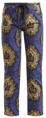 Isabel Marant Rupsy Floral-print Cropped Jeans - Womens - Blue Multi