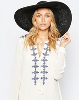 Asos Oversized Straw Hat With Crochet Insert