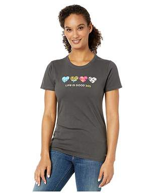 Life is Good LIG 365 Hearts Crushertm Tee (Night Black) Women's T Shirt