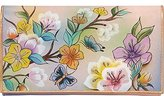 Anuschka Handpainted Leather Multi-pocket Wallet / Clutch ,japanese Garden Wallet