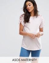 Asos T-Shirt with Ruffle & Drawstring Sleeve Detail